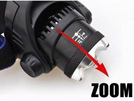Latarka czołowa T6 LED - 2 akumulatory 18650 - duża moc