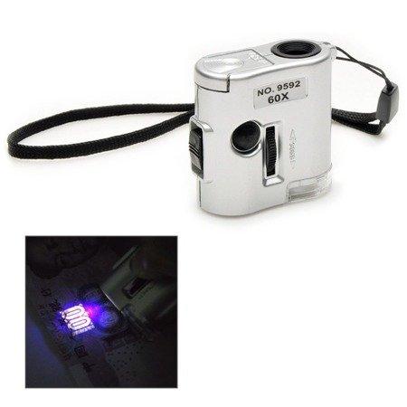 Lupa mikroskop - 60x - Diody - 2xLED - 1xLED UV