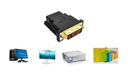 Adapter - konwerter  DVI-D męski (24+1) na HDMI żeński 1080p