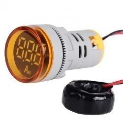 Amperomierz z przekładnikiem 0-100A - Okrągły 28mm - LED - Żółty