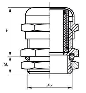 Dławnica kablowa PG7 IP68 - Dławik izolacyjny metalowy z nakrętką