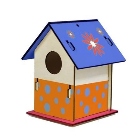 Domek dla Ptaków do malowania DIY - Wzór 2 - Drewniany karmnik