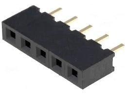Gniazdo kołkowe 2,54mm - 5 pinów - 10 szt - żeńskie - do układów elektronicznych