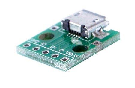 Gniazdo microUSB B do płytki stykowej KIT - Gniazdo microUSB typ B - Mini DIP