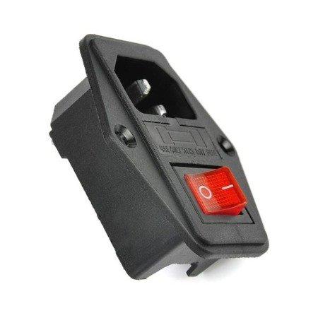 Gniazdo zasilania AC IEC 250V męskie - z wyłącznikiem i bezpiecznikiem