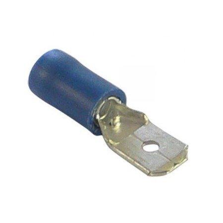 Konektor izolowany płaski męski - 6.3mm - niebieski - na kabel 1-2.5mm2 - 10szt