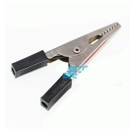 Krokodylek do akumulatora -  klips czarny -  50mm
