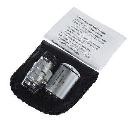 Lupa jubilerska, mikroskop 60x - oświetlenie LED