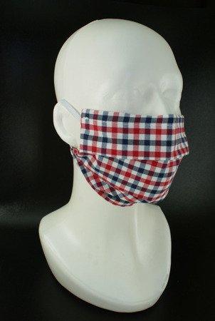 Maseczka na twarz trójwarstwowa - kratka - wielokrotnego użytku - bawełna 100%