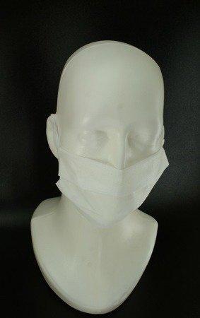 Maseczka ochronna na twarz 2-warstwowa z włókniny - biała - jednorazowa