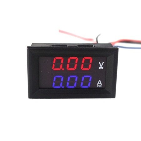 Miernik woltomierz i amperomierz 0-100V - 50A - 0.28' Red/Blue - w obudowie