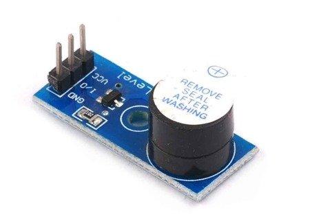 Moduł buzzera aktywnego na płytce PCB - 3.3V~5V - stan wysoki - do arduino, projektów DIY i robotyki