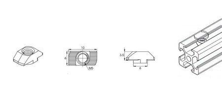 Nakrętka młoteczkowa T M5 do profili aluminiowych 2020 - 10 szt - TSLOT, T-NUT, TNUT
