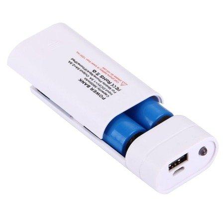 Obudowa do powerbank - na 2 akumulatory 18650 -  USB 5V 1A - 4 diody LED - latarka
