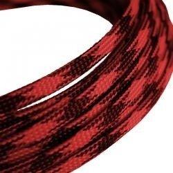 Oplot na przewody 4mm/8mm - czerwono-czarny - oplot poliestrowy/ Plecionka - 1mb