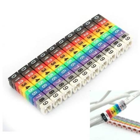 Oznacznik przewodów 6mm - Organizer kabli cyfry 0-9 - zestaw 100 szt
