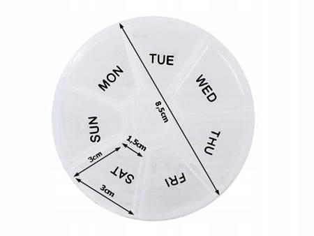 Pojemnik na leki tygodniowy - okrągły - Pudełko z 7 przegródkami - Organizer