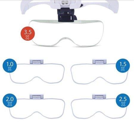 Profesjonalna Lupa Nagłowna 9892B2 - 1-3.5x Okulary powiększające z oświetleniem