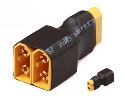 Przejście - XT60 (żeńskie) na 2xXT60 (meskie) - krótkie - do równoległego łączenia akumulatorów