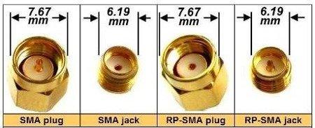 Przejście kątowe - SMA jack to RP-SMA plug - adapter 1 szt
