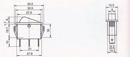 Przełącznik klawiszowy KCD3-101N - ON/OFF - 3 PIN - żółty