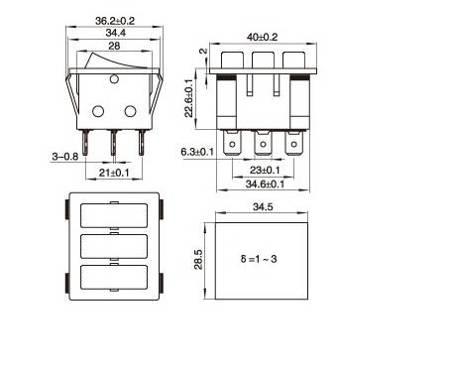 Przełącznik klawiszowy KCD3-303L - 15A/250V - Potrójny - ON/OF - z podświetleniem