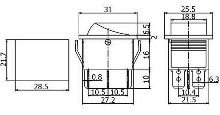 Przełącznik klawiszowy KCD4 - chwilowy - 15A/250V - podwójny - (ON)-OFF-(ON) - czarny