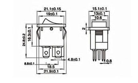 Przełącznik kołyskowy bistabilny KCD1-4 - zielony - 15x21mm - przełącznik ON/OFF 250V - 4PIN