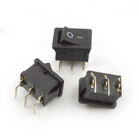 Przełącznik kołyskowy bistabilny KCD1 - czarny - 21x15mm - ON/OFF 250V - 3PIN zakrzywione