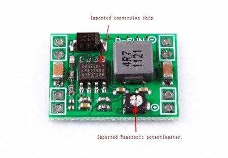 Przetwornica max 3A - 4,5-28V na 0,8-20V - micro 2 gramy - Step-down - do FPV