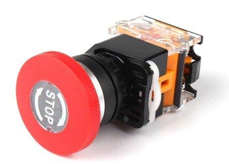 Przycisk bezpieczeństwa 'grzybek' - 40mm - 10A/400V - NO/NC - awaryjny