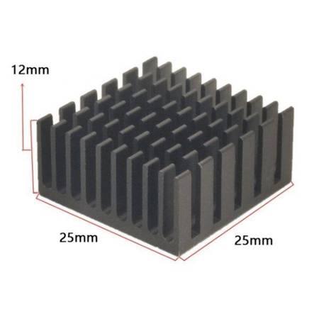 Radiator aluminiowy wytłaczany - 25x25x12mm czarny - radiator chłodzący