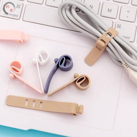 Silikonowa opaska do kabli - fioletowa - Organizer - pasek mocujący