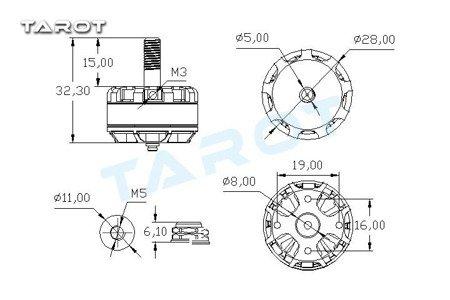 Silnik Tarot MT2205Ⅱ CW 2300KV - 3-4S - 300W - TAROT TL400H14
