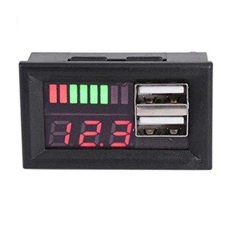Wskaźnik naładowania - miernik napięcia 12V - 2 x USB 5V / 3A do ładowania