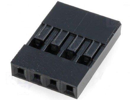 Wtyk kołkowy 2,54mm - 4 piny - 10 szt - osłonka - do układów elektronicznych
