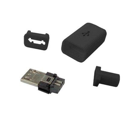 Wtyk micro USB typu B - z osłoną - montowany na kabel