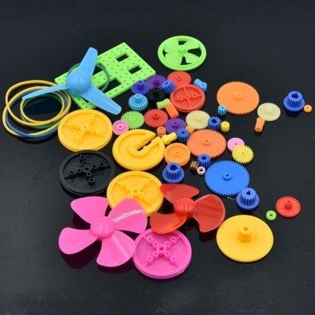 Zestaw 55 plastikowych elementów i zębatek do budowy robotów i pojazdów DIY