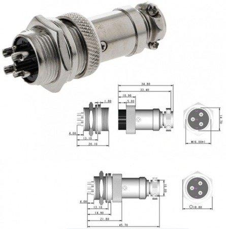 Złącze przemysłowe zakręcane GX16 4-PINy - wtyk z gniazdem