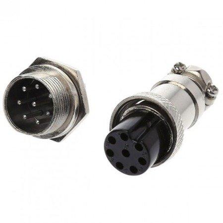 Złącze przemysłowe zakręcane GX16 8-PIN - wtyk z gniazdem